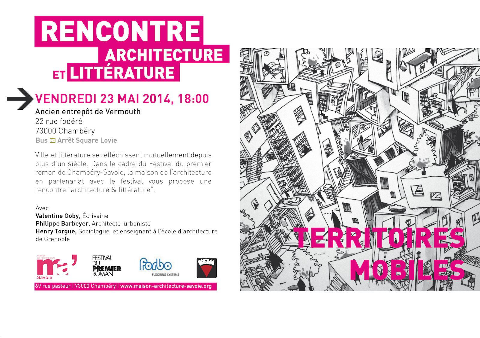 maison de l'architecture de savoie - rencontre architecture et littérature - 27ème Festival du premier roman